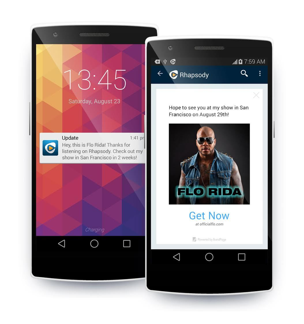 A push notification from Flo Rida to his biggest fans on Rhapsody via BandPage. (Photo: Business Wire)