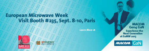 MACOM will showcase the industry's broadest and most advanced Gallium Nitride (GaN) RF product and technology portfolio at European Microwave Week, September 6-11 in Paris, France at Booth #235. (Graphic: Business Wire)