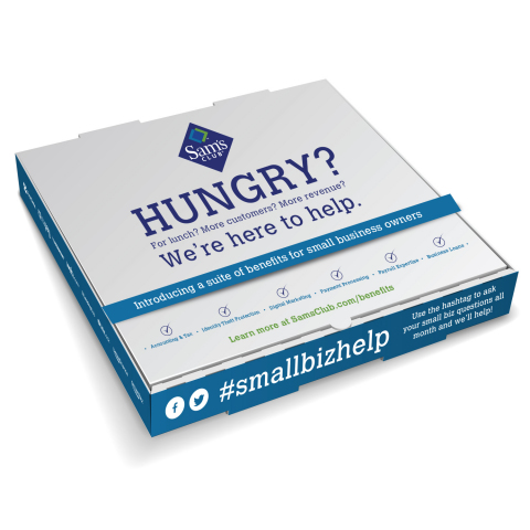 Sam's Club will deliver a special lunch in branded pizza boxes to select small business advocates and entrepreneurial incubators. (Photo: Business Wire)