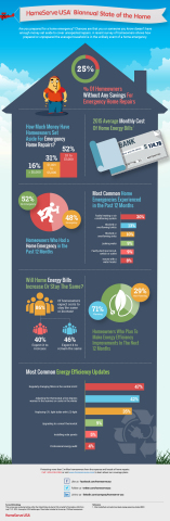 HomeServe Biannual State of the Home - August 2015 - 25 Percent of Homeowners Have No Savings for Emergency Home Repairs (Graphic: Business Wire)