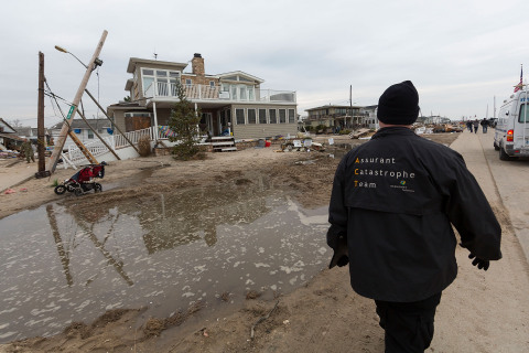 An Assurant claims specialist at work at Breezy Point, N.Y., following Superstorm Sandy. (Photo: Business Wire)