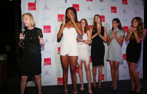 Sherry Baker, President of Marketing, European Wax Center announces that Brooklyn McAlpin of Palmdale, California is the winner of the Summer Goddess 2015 Model Search presented by European Wax Center on August 20, 2015 in Miami, Florida at the grand finale event. (Photo: Getty Images for European Wax Center)