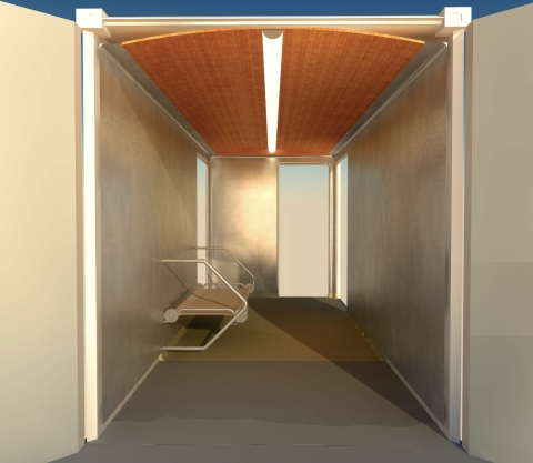 Mockup of Modula S Infection Isolation Unit with walls made from CuVerro(R) bactericidal copper alloy (Graphic: Business Wire)