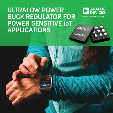 Ultralow Power Buck Regulator Achieves Industry's Highest Efficiencyto Boost Battery Life for Power Sensitive IoT Applications (Graphic: Business Wire)