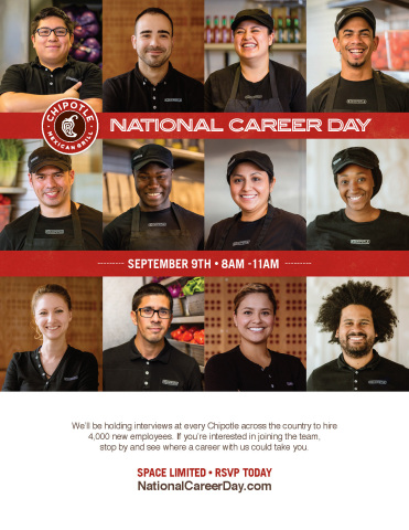Chipotle to hire 4,000 people in a single day at first-ever National Career Day on September 9. (Graphic: Business Wire)