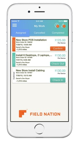 The Field Nation app for iOS allows independent contractors to keep track of required tasks while performing jobs on-site. (Photo: Business Wire)