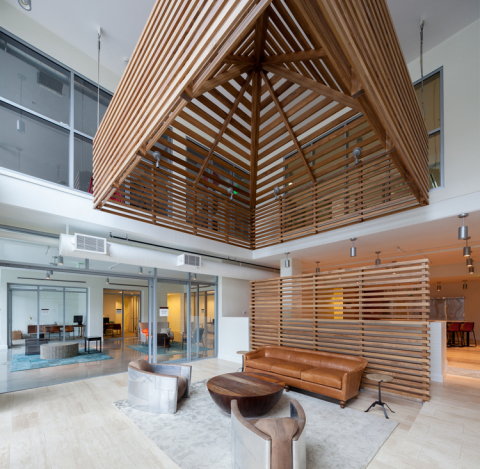 Pictured here: The lobby of the new Runway apartments at Playa Vista (Photo: Business Wire)