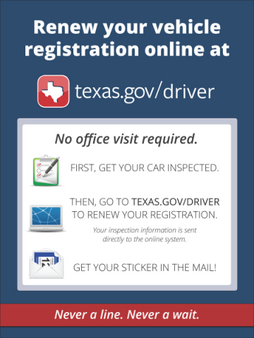 Texas Car Inspection >> Texas Vehicle Registration Renewal Online Still Available