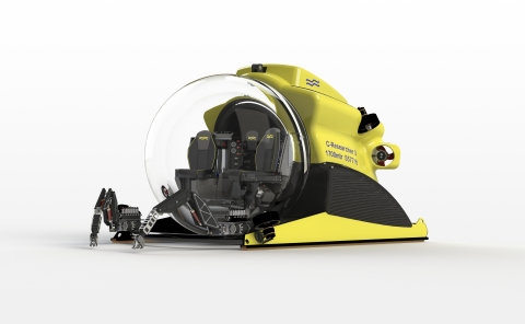 The C-Researcher 3, world's first transparent 3-person submersible capable of diving to 1,700 meters ...