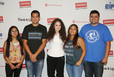 Actress Madison Pettis, center, poses with students and teacher from Apex Academy in Los Angeles at  ...