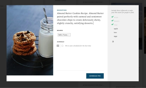 Screenshot displaying Pinterest marketer Ahalogy's content optimizing Liftwords (TM) on the right.