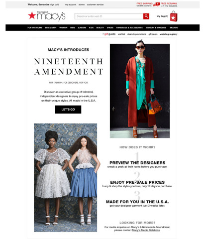 Macy's launches exclusive alliance with Nineteenth Amendment, giving customers the opportunity to discover and support independent designers. (Graphic: Business Wire)
