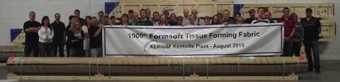 Xerium's Kentville, NS, Canada Team Celebrates Shipment of 1000th Formsoft Tissue Fabric