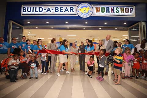 The new store was designed to make Build-A-Bear Workshop's iconic experience even more memorable for guests. Build-A-Bear CEO Sharon Price John revealed the new look and feel for the brand, complete with an updated storefront, fresh new logo, and a seven-foot-tall stuffer.