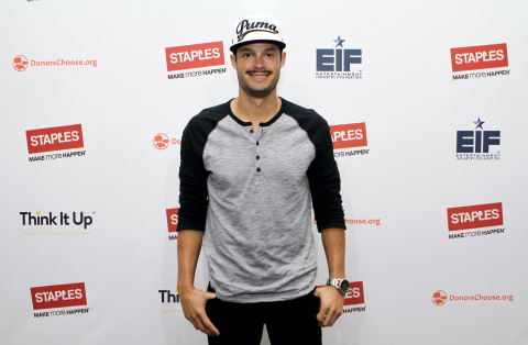 "Boston Red Sox pitcher Joe Kelly at the Staples ""Think It Up"" press announcement held on Wednesday,  ..."