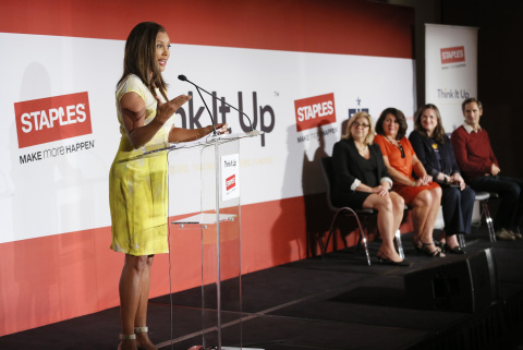 Actress Vanessa Williams with Carrie McElwee, director of public relations for Staples, Alison Corco ...