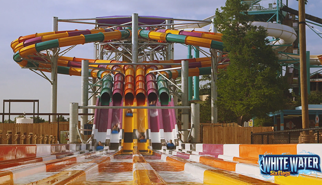 (Broll) Six Flags White Water is off to the races in 2016 with the addition of the all-new Wahoo Racer at the South's Most Thrilling Water Park. The multi-lane water slide complex is the largest of its kind in the world. Wahoo Racer opens in May 2016.
