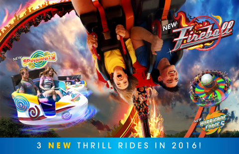 3 New Thrill Rides Coming in 2016 at Six Flags Fiesta Texas in San Antonio -- Prepare for sensory overload as three new mind-bending rides anchor an exciting new Fiesta Bay Boardwalk. Guests will loop, spin and soar as they experience the thrills of Fireball, featuring a massive 7-story looping frenzy; Hurricane Force 5, where riders swirl round-and-round while soaring high into the air; and Spinsanity, the ultimate whirling adventure for daredevil riders. (Photo: Business Wire)