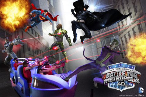 JUSTICE LEAGUE: Battle for Metropolis features high definition 3D animation that fully immerses riders into the city of Metropolis. (Photo: Six Flags Great America)