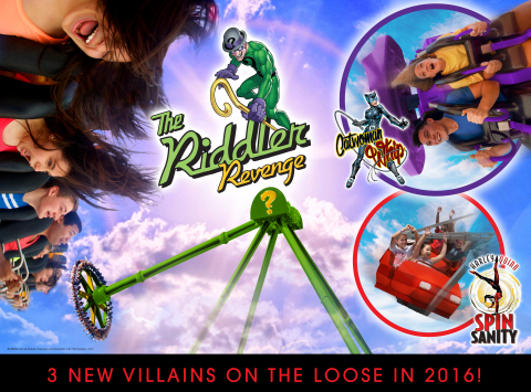 The Riddler Revenge, Catwoman Whip, and Harley Quinn Spinsanity will open in spring 2016. These exhilarating rides will stand alongside MR. FREEZE: Reverse Blast giving guests an epic dose of villainous coasters after enjoying BATMAN™ The Ride in the GOTHAM CITY section of the park. (Graphic: Business Wire)