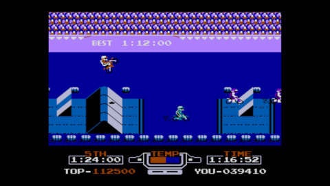 For the first time since its release in Japan, the Famicom Disk System version of the VS. Excitebike game is available in North America - complete with two-player split screen! (Photo: Business Wire)