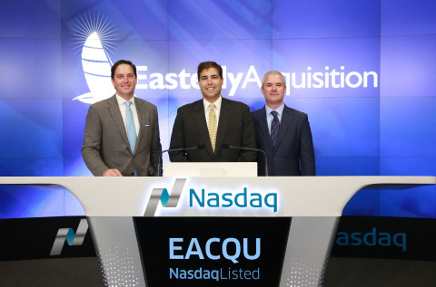 Easterly Acquisition Corp. (Nasdaq: EACQU) rang the opening the bell at the Nasdaq Stock Market today, September 3, 2015. From left to right: Darrell Crate and Avshalom Kalichstein, respectively the chairman and CEO of Easterly Acquisition Corp.; celebrate with David Cody, Managing Director, Easterly Capital, LLC. (Photo: Business Wire)