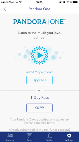 The Pandora One Day Pass landing page (Graphic: Business Wire)