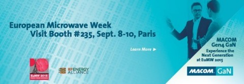 Swing by MACOM's Booth #235 at EuMW 2015 in Paris, France to learn more about our GaN offering. (Graphic: Business Wire)