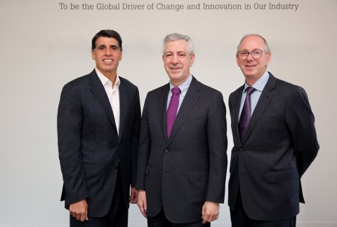 From left, Thomas Scarangello, chairman and chief executive of Thornton Tomasetti, Raymond Daddazio, co-president of Thornton Tomasetti after the merger; Robert DeScenza, co-president of Thornton Tomasetti. (Photo: Business Wire)