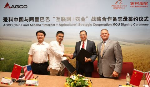 "AGCO Executives sign memorandum of understanding with Alibaba Group's Taobao business division to start ""Internet-plus-Agriculture"" crossover program. (Photo: Business Wire)"