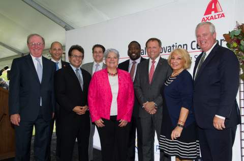 group left to right, William Hankowsky, Liberty Property Trust, Barry Snyder, Axalta, Chris Lehmann, Science Leadership Academy, State Sen. Larry Farnese, Sec. Kathy Manderino, Councilman  Kenyatta Johnson, Axalta Chairman & CEO Charlie Shaver, Rep. Maria Donatucci, and PIDC President John Grady (Photo: Axalta)