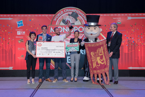 Nicolò Falcone of Venice, Italy is named the champion of the 2015 MONOPOLY World Championship at The ...