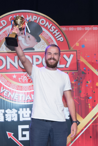 "Nicolò Falcone of Venice, Italy celebrates his win at the 2015 MONOPOLY World Championship at The Venetian Macao, China, Tuesday, September 8, 2015. Falcone defeated several top MONOPOLY players during the tournament to win the champion title and grand prize of $20,580, the equivalent of the ""bank"" in a standard MONOPOLY game. (FM Event Limited for Hasbro)"