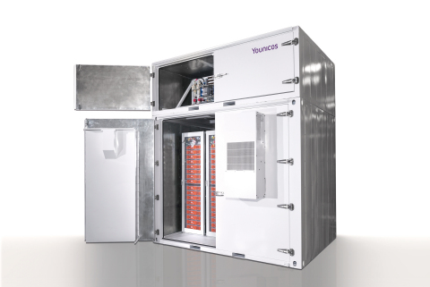 Optimized for energy storage needs: The Y.Cube, combining the Y.Converter (upper section) with state-of-the-art batteries (Photo: Business Wire)