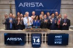 Arista Networks President and CEO Jayshree Ullal and Founder, CDO and Chairman Andy Bechtolsheim celebrate with customers, Bloomberg, Citibank, Comcast and Morgan Stanley and ecosystem partners, EMC, F5, Imagine Communications, Infinera, Palo Alto Networks, Red Hat, Super Micro Computer and VMware, in the closing bell ceremony at NYSE this afternoon. Photo Credit: NYSE/Valerie Caviness