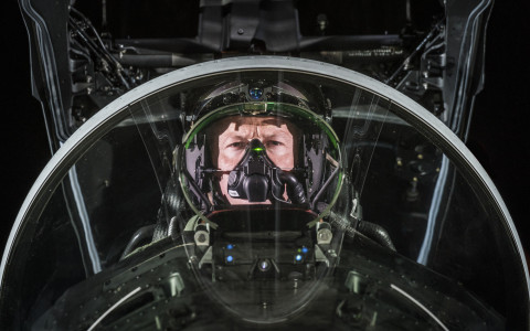 For seamless transition from day-to-night, fast jet pilots benefit from the integrated night vision technology on BAE Systems' fully digital Striker II helmet-mounted display. (Photo: BAE Systems)