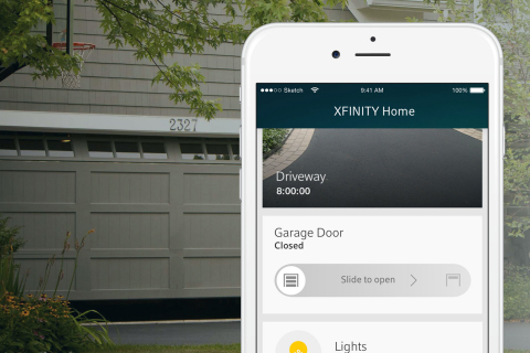 Chamberlain MyQ garage door controller (pictured here) and NETGEAR® Arlo™ security camera will soon join a growing list of experiences that can be managed and controlled on the Xfinity Home platform. (Photo: Business Wire)