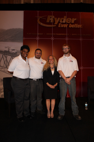 (From left to right): Next Top Tech Challenge third place winner Liberty Coleman; second place winner Wilmer Leon; UTI-Lisle Campus President Julie Mueller; and first place winner Warren Hindriks. (Photo: Business Wire)
