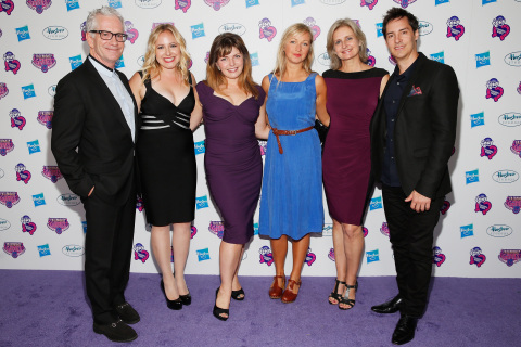"""The cast and crew behind """"My Little Pony Equestria Girls Friendship Games,"""" William Anderson, Andrea Libman, Rebecca Shoichet, Ashleigh Ball, Cathy Weseluck, and Daniel Ingram, attend the 'purple carpet' premiere screening of the """"My Little Pony Equestria Girls Friendship Games"""" animated film, held at the Angelika Film Center in New York City on September 17, 2015. Hasbro celebrated the world premiere of """"My Little Pony Equestria Girls Friendship Games,"""" a Hasbro Studios full-length animated feature film and the third installment in the beloved MY LITTLE PONY EQUESTRIA GIRLS franchise. (Photo: Getty Images for Hasbro)"""