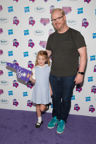 "Jim Gaffigan poses with his daughter Katie at the ""My Little Pony Equestria Girls Friendship Games"" premiere September 17, 2015 at the Angelika Film Center in New York City. Hasbro celebrated the world premiere of ""My Little Pony Equestria Girls Friendship Games,"" a Hasbro Studios full-length animated feature film and the third installment in the beloved MY LITTLE PONY EQUESTRIA GIRLS franchise. (Getty Images for Hasbro)"