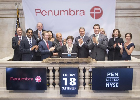 Penumbra (NYSE:PEN) rings the NYSE Opening Bell to celebrate its first day of trading on the NYSE. (Photo: NYSE)