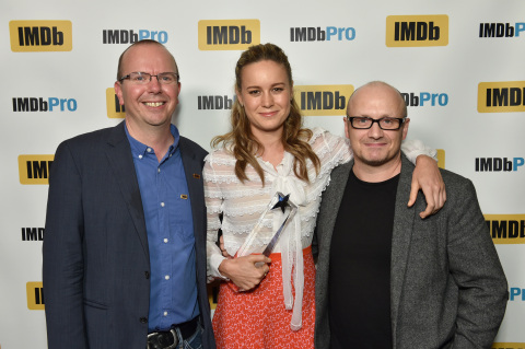 Brie Larson, star of ROOM, TRAINWRECK and SHORT TERM 12, is presented with the IMDb STARmeter Award at the 2015 Toronto International Film Festival by IMDb founder and CEO (Col Needham) and ROOM's director (Lenny Abrahamson). (Photo: Business Wire)