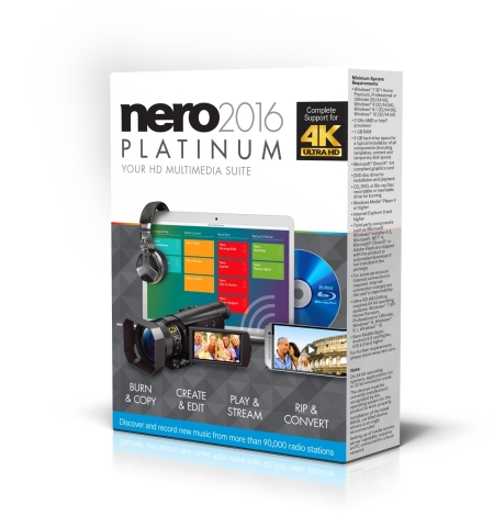 Nero 2016 Platinum is the top class for burning, editing, converting, managing and playing all digit ...