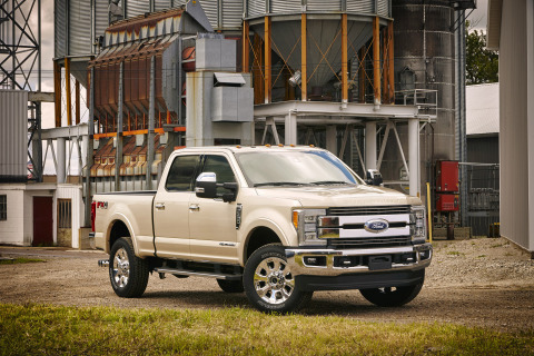 All-new 2017 Ford F-350 Super Duty King Ranch Crew Cab 4x4 single-rear-wheel pickup offers Ford's au ...