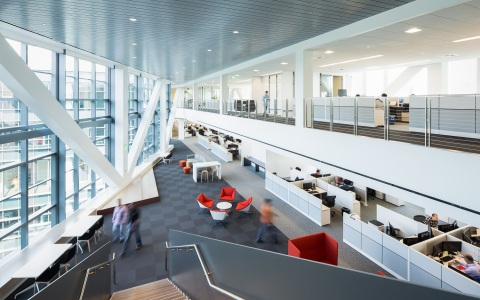 """State-of-the-art facility provides a unique """"open space"""" design that encourages employee interaction and creativity.  (Photo: Business Wire)"""