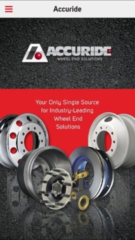 Accuride's free new mobile app sales tool is based on the features of the company's website and makes its wheel and wheel-end product information and search capability available to customers worldwide. (Graphic: Business Wire)