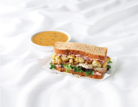 Corner Bakery Cafe's new Thanksgiving-inspired sandwich, The Gobbler paired with the new seasonal Butternut Squash Soup in a Corner Combo. (Photo: Business Wire)