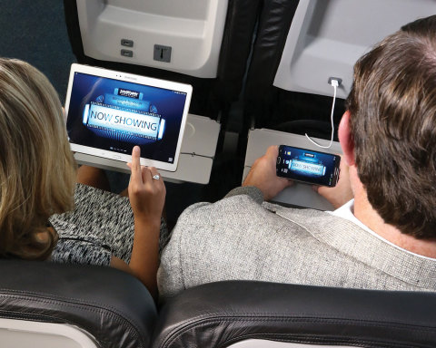 Now Showing: IntelliCabin® is the first IFE solution to receive early window approval to stream to passenger-owned devices (Photo: BAE Systems)