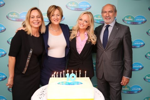New York, 28th September 2015. Pampers and UNICEF celebrate a decade together helping to save 100 million women and their babies. Representatives reflected on the successes of the 10 year initiative at the US Fund for UNICEF, including Yoka Brandt, UNICEF Deputy Executive Director, Celebrity Mum & Pampers UNICEF Ambassador Emma Bunton, Gerard Bocquenet, Director of Private Fundraising and Partnerships, UNICEF, Sirma Umur, VP of Baby Care, P&G and Dr. Holly Phillips, CBS News Medical Contributor and event moderator. (Photo: Business Wire)
