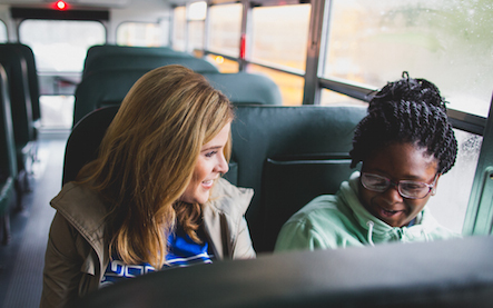 Jenna Bush Hager rides with students to Lilla G. Frederick Pilot Middle School in celebration of the ...